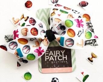 Sporty girl gift, athletic girl gift, clothing gift, girls hair bow, hair bow for girls, girls hair clip, stocking stuffer, gift for girls