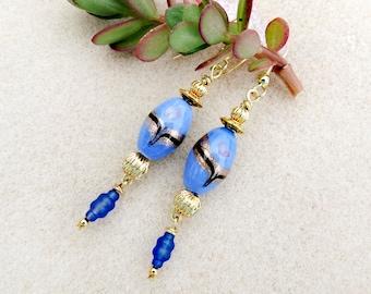 Blue and Gold Art Nouveau Earrings, Vintage, Lampwork, Gold Plated, Drop Earrings, Venetian Style, Art Deco, Handmade Blue Earrings Jewelry