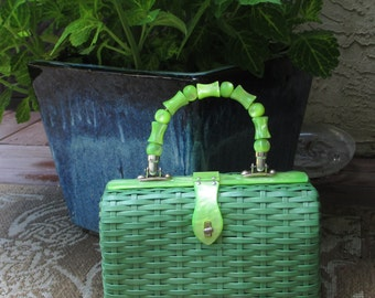 GORGEOUS Lucite Beads Handle Wicker Purse Leopard Lining