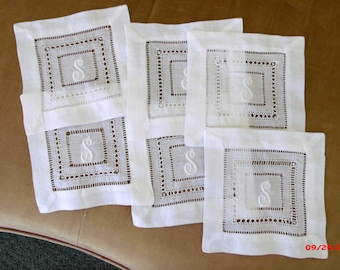 Vintage Monogram S Linen Cocktail Napkins Set of Six