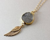 50 OFF SALE Druzy & Angel Wing Charm Necklace - Angel Wing Jewelry - Gold Filled