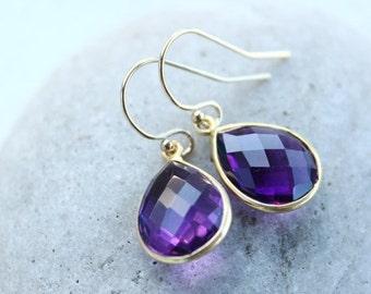 25% OFF Simple Purple Amethyst Quartz Teardrop Gemstone Earrings - 14KT Gold Filled Hooks