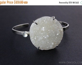 20% OFF Natural Agate Druzy Bangle – Moonstone – 925 Sterling Silver