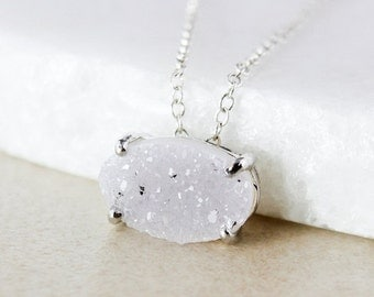 50% OFF Silver-Grey Druzy Pendant Necklace - Choose Your Druzy - Oval Cut