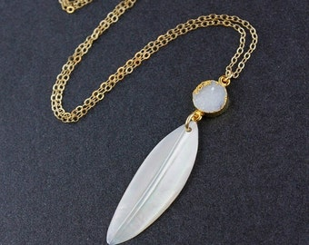 40 OFF SALE Mother of Pearl Feather and Druzy Stone Necklace - 14k Gold Filled Chain