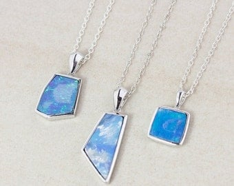 40 OFF SALE Blue Opal Doublet Necklace - Choose Your Opal - 925 Sterling Silver