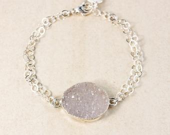 50% OFF SALE - Lilac Druzy Boho Bracelet – Initial Charm – Choose Your Druzy