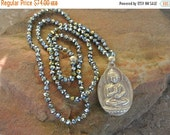 40% off Sale Buddha Czech Crystal Beaded Necklace, Boho Chic Layering Necklace, Celebrity Style 20 Percent off  code SALE20