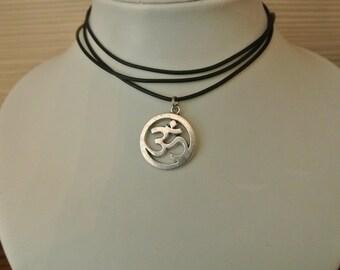 SUMMER SALE Choker OM Leather Wrap Necklace, Boho Chic, Celebrity Style