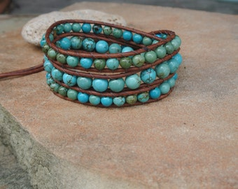 Tree of Life Turquoise Beaded Leather Wrap Bracelet