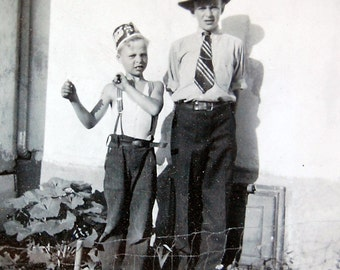 Vintage Photo Boys Dressup Child Friend Portrait Snapshot Black and White with Hat and Tie 1930s.