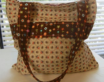 Small Brown Floral Fabric Purse