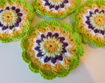 Scalloped Green and Yellow and White Crocheted Coasters Set of Four