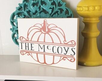 Personalized Pumpkin Monogram- Fall Decor, Fall Sign, Monogram Pumpkin, Fall Welcome Sign, Autumn Decor, Personalized Pumpkin,