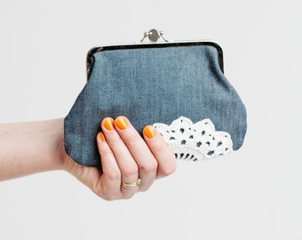 double frame purse with vintage lace, denim