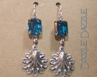 Teal Blue Glass Victorian Earrings - Dangle - Downton Abbey Inspired - Vintage Glass Setting