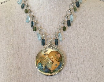 MOP Hand Painted Pendant/Necklace/Blue Topaz/Tourmaline/Sterling Silver