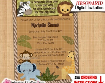 Safari Friends Monkey Baby Shower Invitations monkeys elephant giraffe zebra lion jungle #005 Personalized DIGITAL INVITATION printable