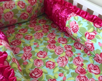 Luxury Crib Bumpers, A La Carte Bumper, Hot Pink Bumper, Roses Crib Bumper, Foam Crib Bumpers, Boutique Crib Bumper