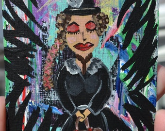 Woman and Bird Art Tag, Crow Gal Painting, Acrylic Strathmore paper, Be You, Love Yourself
