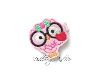 Pink Owl With Apple Hair Clip, Back To School Owl Hair Clip, Felt Hair Clips,  Owl Hair Clips, Hair Clips For Back To School, Geeky Owl