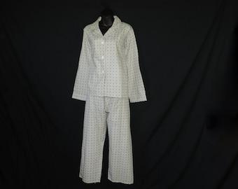 1950's MCM pajama set mid-century cotton long pajamas plus size vintage PJ's 44 new old stock