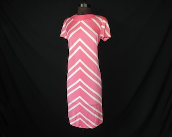 1960's pink stripe dress mod pink and white chevron tunic medium