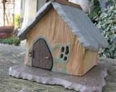 Fairy House Rustic Ceramic Stone Roof Sculpted One Of A Kind Faerie House Fairy Garden House