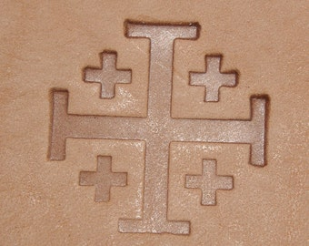Crusader Cross Leather Stamp 1 inch Medieval Knights Christian Jerusalem Cross