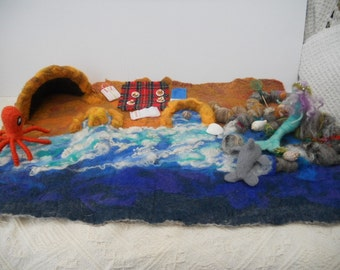 A Beach Scape Play mat Play scape Waldorf mermaid dolphin octopus sand castle rock pools