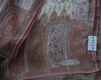 Vintage silk moroccan  print ethnic Oscar De La Renta scarf
