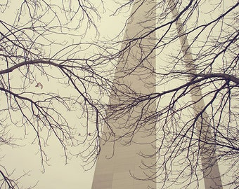 "Landscape St. Louis Arch Photograph, ""Winter Sky"" Print. Gray, Dark Moody Gateway to the West. Missouri. 8x10, 11x14, 16x20, 20x24, 24x30"
