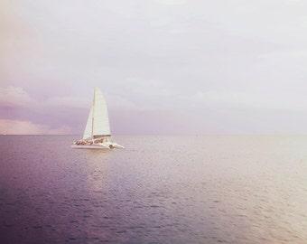 "Ocean Photography, Sailboat Fine Art Picture. ""Out Across the Endless Sea"" Caribbean Sunset Photograph. St. John, USVI."