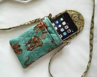 Iphone 6 Gadget Case Detachable Neck Strap Quilted Animal Print Elephants Turquoise Brown