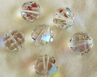 Vintage 6 Crystal AB Aurore Boreale 14mm Horizontal Facets Old Art Swarovski (K.S. & Co.)