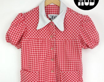 Retro 60s Mod Country Red & White Plaid Top with White Collar!