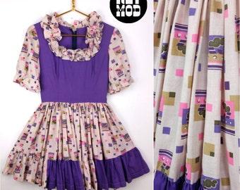 Adorable Vintage Mod Purple & Pink Geometric Goth Lolita 60s Babydoll Square Dancing Dress!