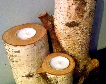 Birch Tea Light Candle Holders