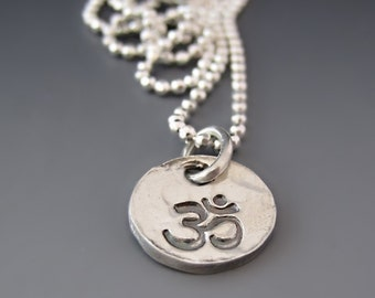 Small Fine Silver OM  Necklace / Sterling Silver OM Charm / OM Yoga Jewelry / Yoga Necklace / Om Pendant / Gifts for Her / Namaste