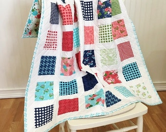 "Quilt Baby, Gooseberry HANDMADE, Crib, Pink, Aqua, Green, Navy, White, Flowers 38 1/2x44"""