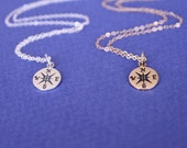 Silver or Gold Compass Necklace, Sterling Silver or Gold  Necklaces, Graduation gift, Best friend gift, Compas char