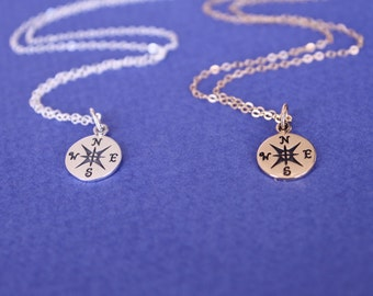 Silver or Gold Compass Necklace, Sterling Silver or Gold  Necklaces, Graduation gift, Best friend gift, Compas charm