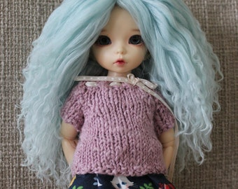 Lovely light Aqua Blue mohair wig for Littlefee / other YoSD sized / Unoa / Enyo doll