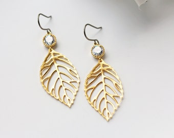 Matte Gold Leaves Crystal Titanium Earrings Filigrees Cubic Zirconia Modern Boho Dangle