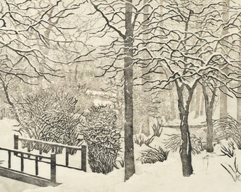 Snow Day OOAK hand-pulled reduction woodblock moku haga fine art print limited edition