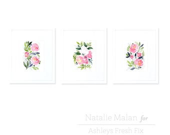 Watercolor White Rose & Pink Peony 3 Print Collection