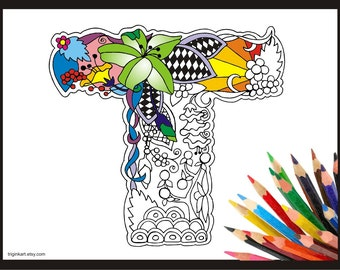 "Letter ""T"" Lilly style alphabet  Adult coloring page"