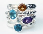 Mothers Ring - 4 Birthstone Stacking Rings  Two 6x4 Oval Gemstones -  Family Ring -  Stackable Rings - Birthstone Rings - Sterling