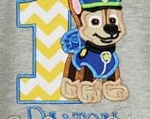 Paw Patrol Birthday Shirt, Chase Birthday Shirt, Custom Paw Patrol Birthday Shirt, Personalized Birthday Shirt, You Pick Fabrics and Font