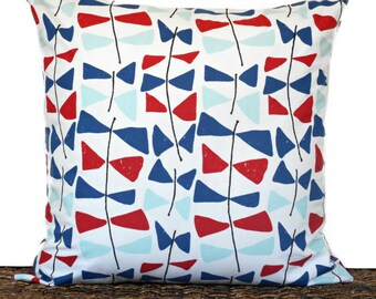 WEEKLY SPECIAL 16.00 Nautical Pillow Cover Coastal Kitetails Red White Navy Seafoam Patriotic Fourth of July Repurposed Decorative 18x18